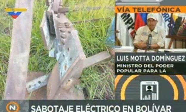Ministro Motta Domínguez denunció sabotaje al sistema eléctrico en Bolívar